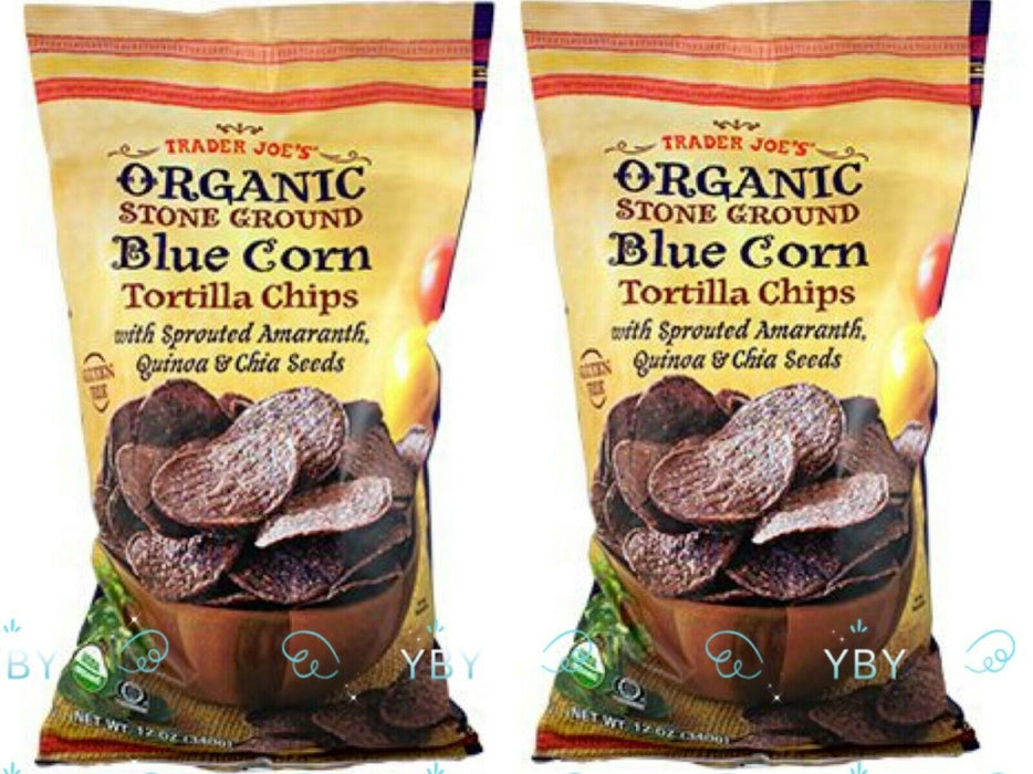 2 Packs Trader Joe's Organic Stone Ground Blue Corn Tortilla Chips 12 OZ Each