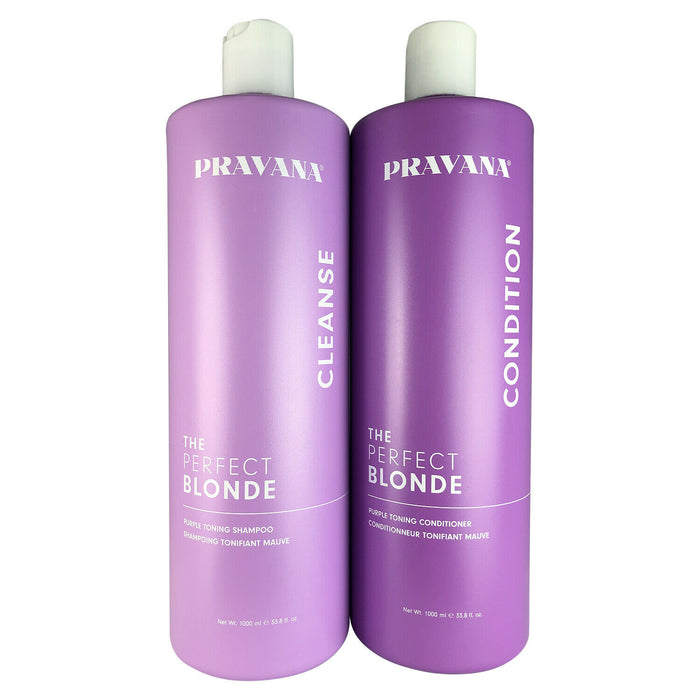 Pravana The Perfect Blonde Purple Hair Toning Shampoo & Conditioner Liter Duo...
