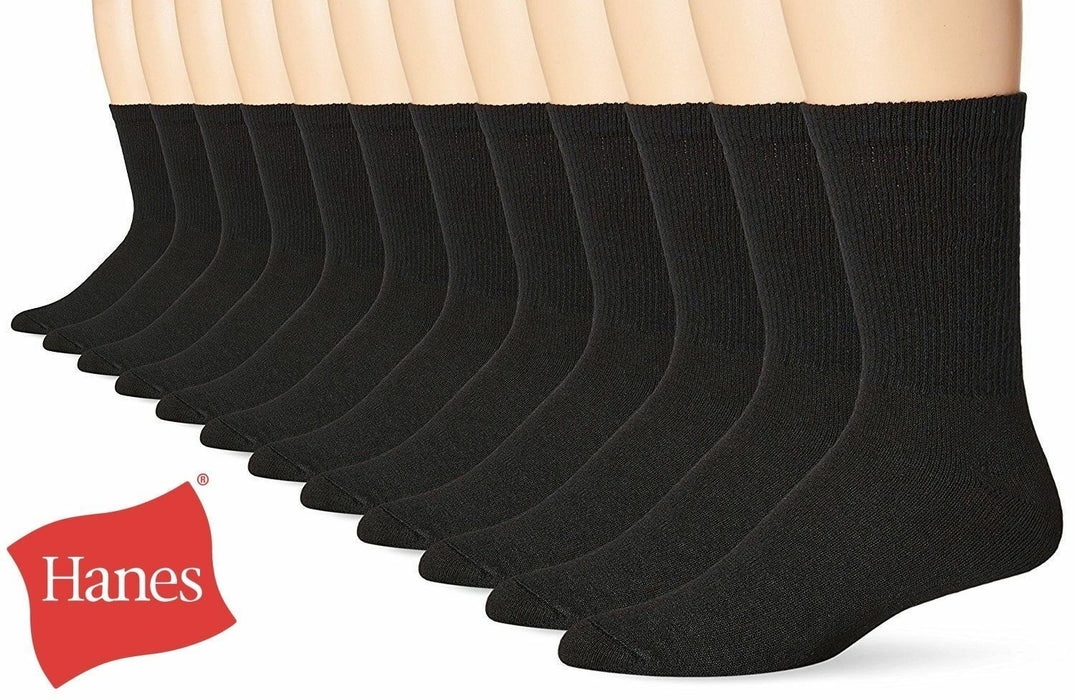 Hanes New Classics 6 Pack Premium Men's Socks, Crew, Black, size 6-12/10-13