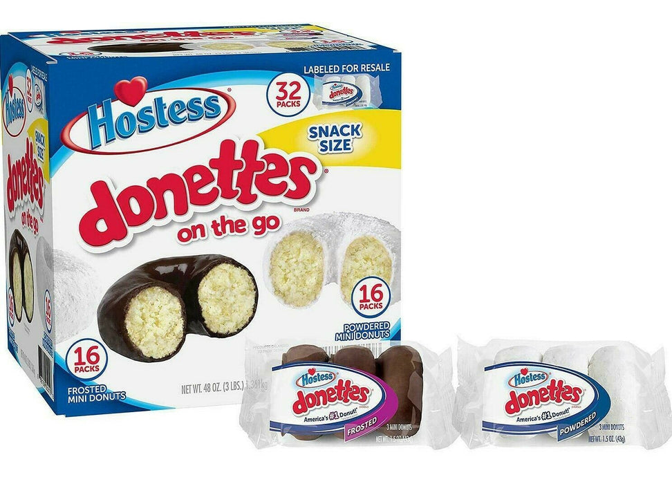 Hostess Mini Powered Donettes and Frosted Chocolate Mini Donettes 32 CT 48 OZ