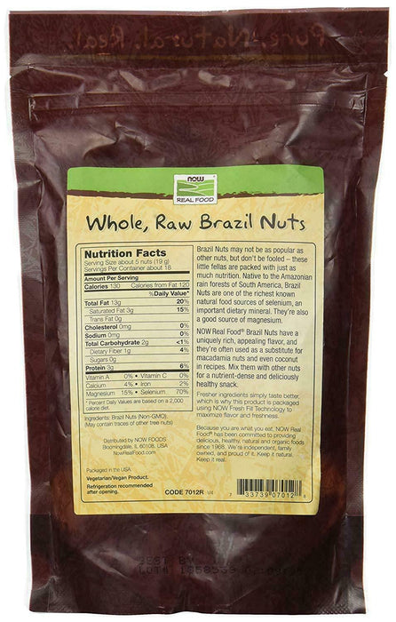 NOW Foods Brazil Nuts, Whole, Raw & Unsalted. 12 oz. FREE SHIPPING. MADE IN USA