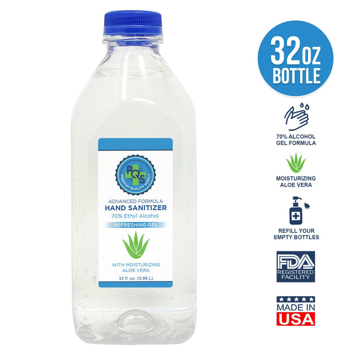 Hand Sanitizer Gel 32 OZ - 70% Alcohol w/ Aloe ✓ Made in USA ✓ FDA reg. Facility