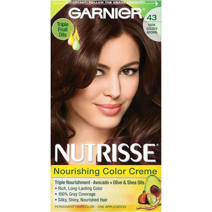 Garnier Nutrisse Nourishing Hair Color Creme, 43 Dark Golden Brown