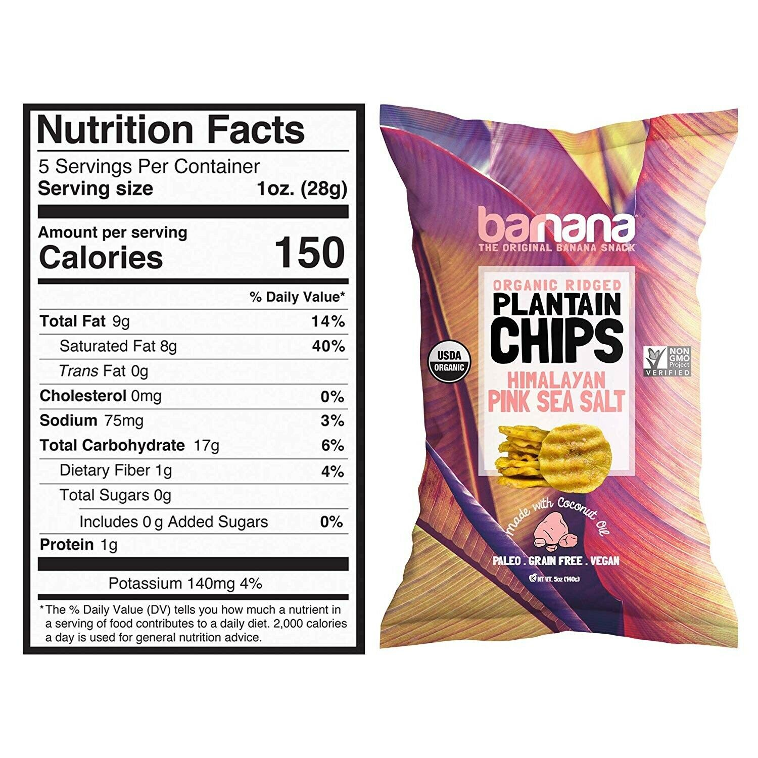 Barnana Organic Plantain Chips - Himalayan Pink Salt - 5 Ounce, 8 Pack Plantains