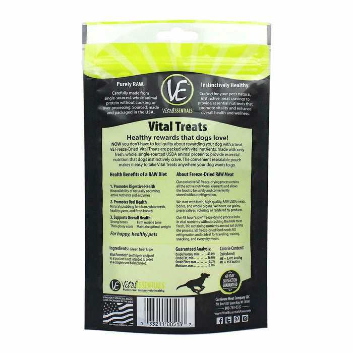 Vital Essentials Freeze-Dried Beef Tripe Treats for Dogs 2.3 ounce