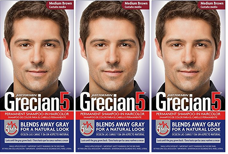 Grecian5 for Men, 5 Minute Permanent Shampoo-In Haircolor, Medium Brown (3 Pack)