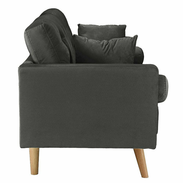 Dark Grey Natural Wood Frame Sofa with Velvet Upholstery High Density 4 Pillows