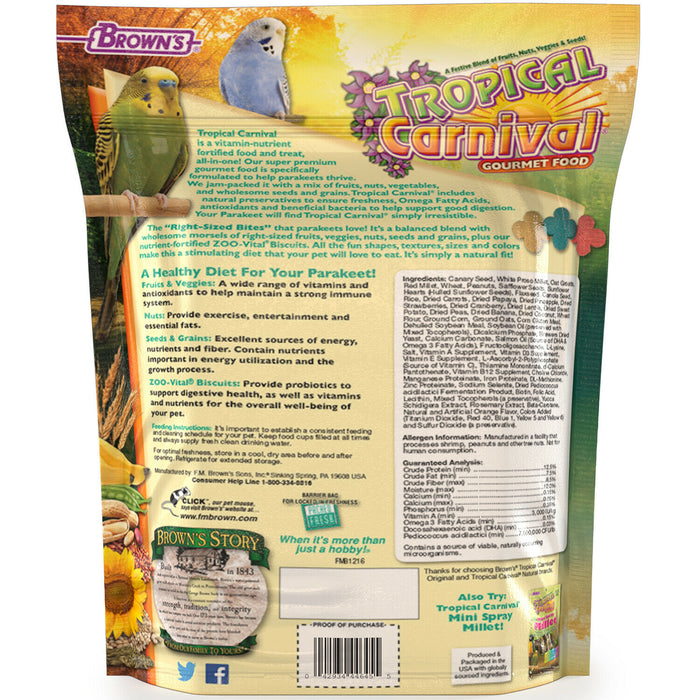 Brown's Tropical Carnival Gourmet Parakeet Food and Treat in One, 2-lb Bag