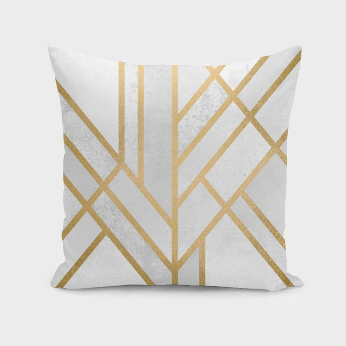 Modern Gold Art Deco Geometry  Cushion Pillow