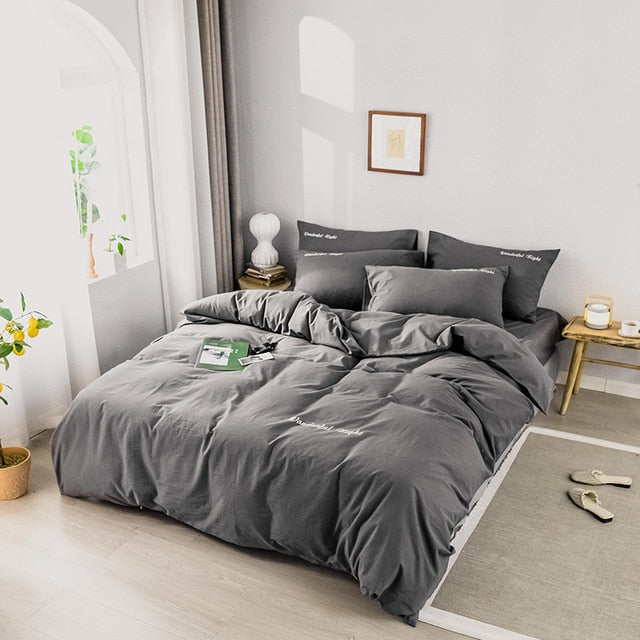 Alanna fashion bedding set Pure cotton A/B double sided pattern Simplicity Bed sheet, quilt cover pillowcase 4 7pcs LootDash
