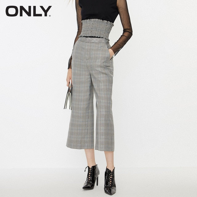 Womens Summer High rise Checked Loose Fit Wide leg Casual Pants