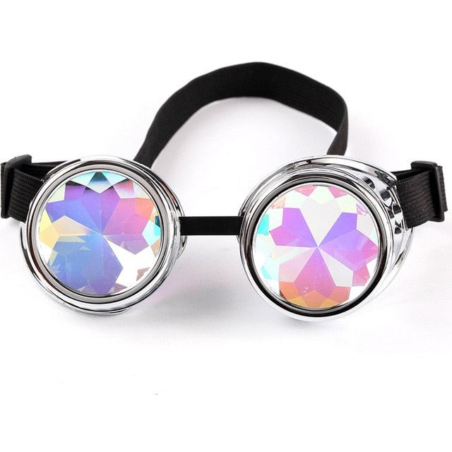 Cosplay Vintage Rivet Steampunk Goggle kaleidoscope glasses