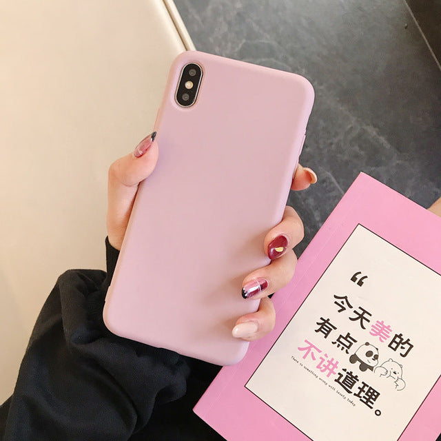 Luxury Soft Silicone Candy color Case For iPhone
