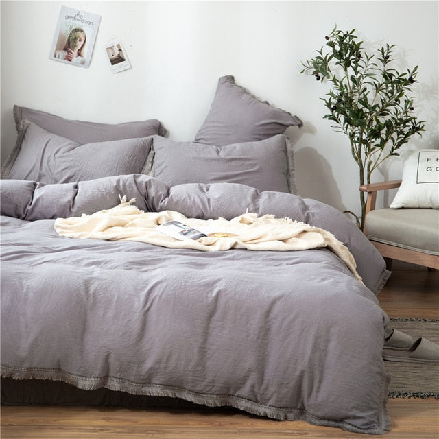 2/3Pcs/set White Fringed Tassel Duvet Cover Set Polyester & Cotton Comforter Bedding Set LootDash