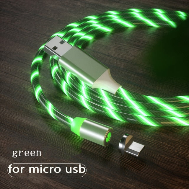 1m Magnetic charging Mobile Phone Cable USB Type C Flow Luminous Lighting Data Wire for Samsung / IPhone