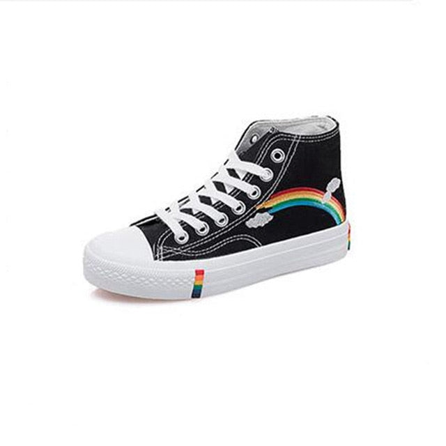 New Fashion Black Breathable Classic High Women Canvas Sneakers Rainbow LootDash