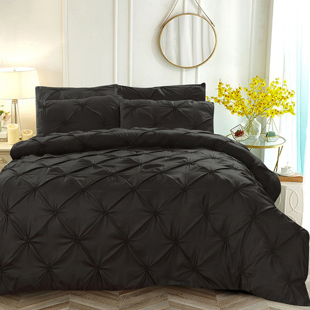 Soft Pinch Pleat Bedding Set Comforter Bedding Sets Pintuck Duvet Cover Set and Pillowcase Queen King Size LootDash
