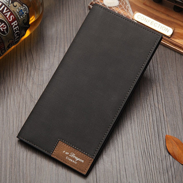 Men's Long Style Bifold Custom Inscription Photo Engraved PU Leather Wallet Soft Stitching Leather Wallet Slim Wallet