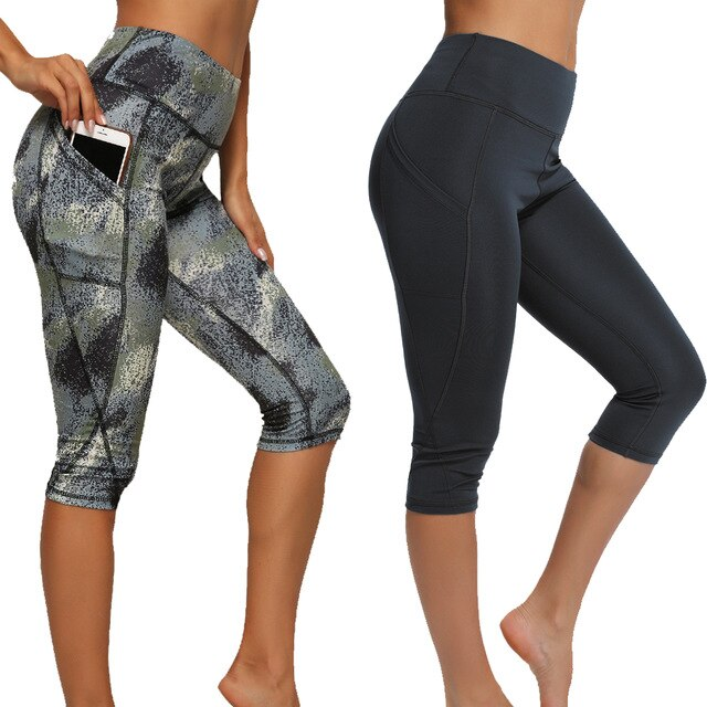 women leggings 2 pieces printed black five point pocket leggings running gym fitness workout five point pants