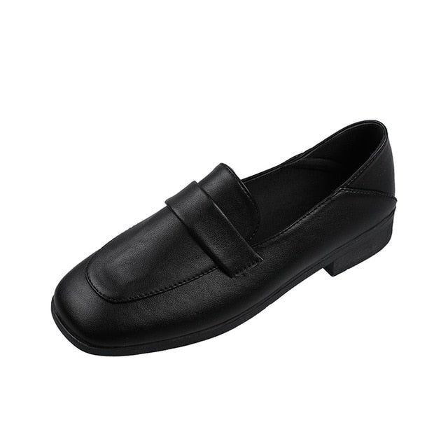 Flat Black Faux Leather Pure Shallow Slip-on Soft Sole Loafer - Lootdash