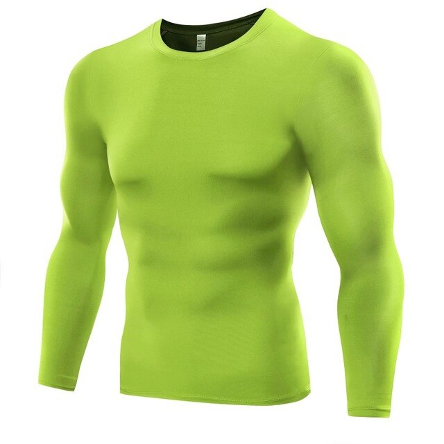 Men Compression Base T Shirt Layer Tight Top  Under Skin Long Sleeve T shirt Tops Tees 6 Colors