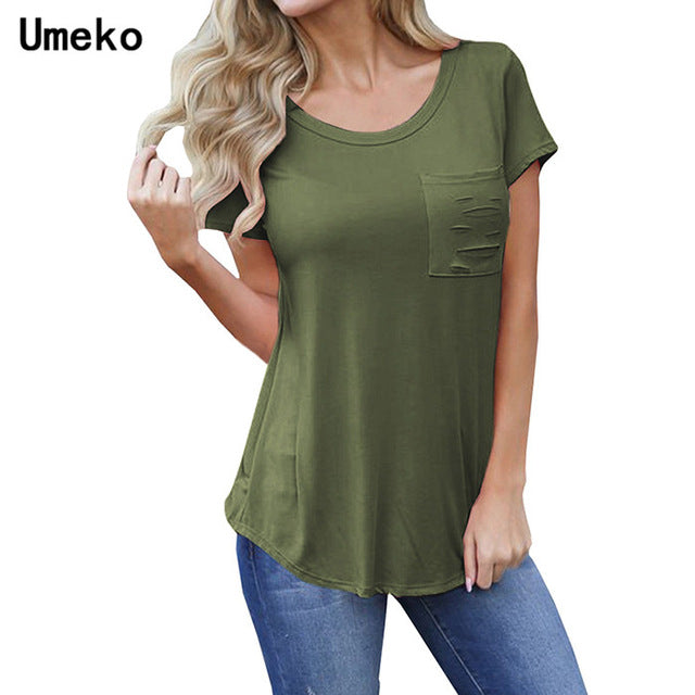 Umeko T Shirt Women Short Sleeve O Neck Solid Color Simple Casual Tops Office Lady Sexy tee shirt femme