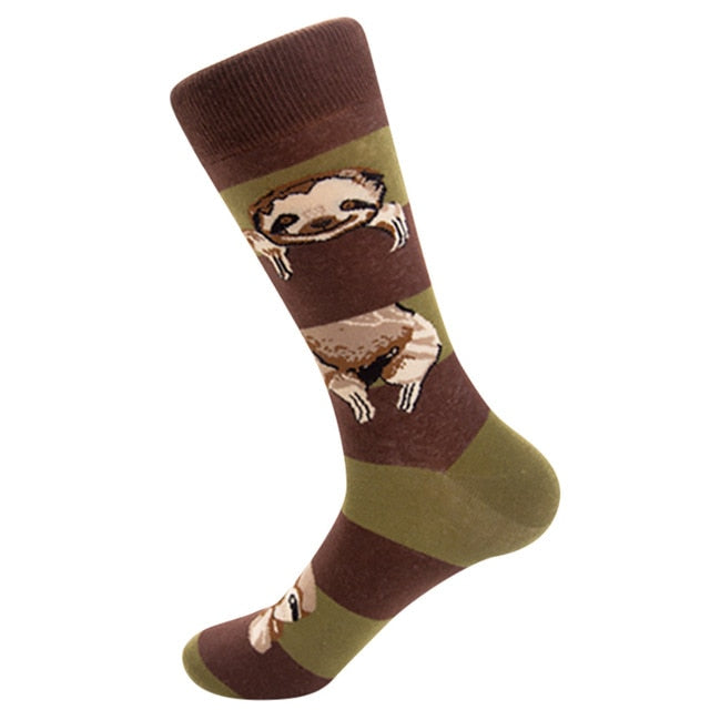 Socks Fashion Men's Safety Durable Cotton Short Street skateboarding sloth pattern personality tube tide Sock dropshipping Mar15