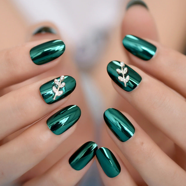 Metallic Mirror Acrylic Custom Press On Nails Green Alloy Silver Leaf Decoration Lady Fingernails 24