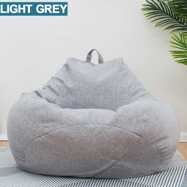 Lazy BeanBag Sofas Cover Chairs without Filler Linen Cloth Lounger Seat Bean Bag Puff asiento Couch Tatami Living Room Furniture|Bean Bag Sofas
