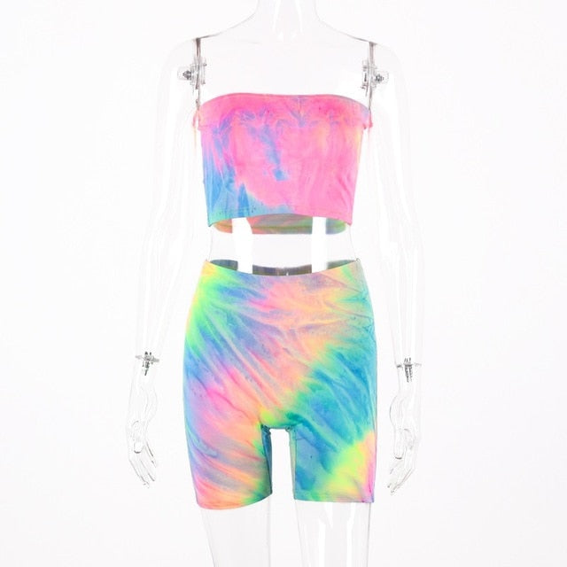 Hugcitar tie dye print sexy tank top biker shorts 2 two piece set 2019 summer women tracksuit crop tops streetwear|Women's Sets