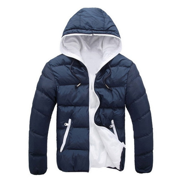 MJARTORIA Men's Slim Fit Hooded Puffer Jacket Outdoor Hiking Camping Sports Cotton  Jackets  Warm Coat for Winter and Autumn