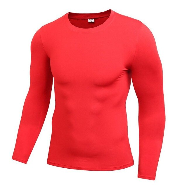 Men Long Sleeve Tight Compression Trainning Tops T Shirts Fast Drying Fitness Base Layer Tops