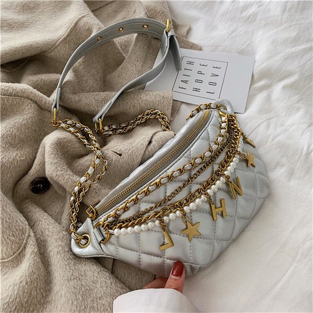 TOYOOSKY Fashion Pearl Chain Fanny Pack Women Waist Bag PU Leather Shoulder Belt Bag Female Chest Bum Bag Banana Pack sac|Waist Packs