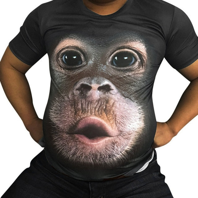 Men Spring Summer Men's T Shirts 3D Printed Animal Monkey tshirt Short Sleeve Funny Design Casual Tops Tees Male