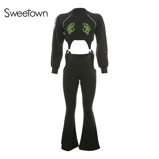 Sweetown Black Cut Out Sexy Beach Jumpsuit Summer Rave Clothes Short Sleeve Floral Embroidery Backless Gothic Bodysuit Women LootDash