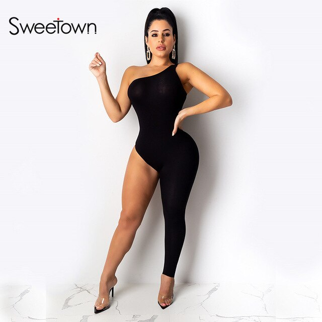 Sweetown 2020 Spring New Fashion One Leg Rompers Women Jumpsuits Ladies Clubwear Solid One Shoulder Sexy Body Mujer Jumpsuits LootDash