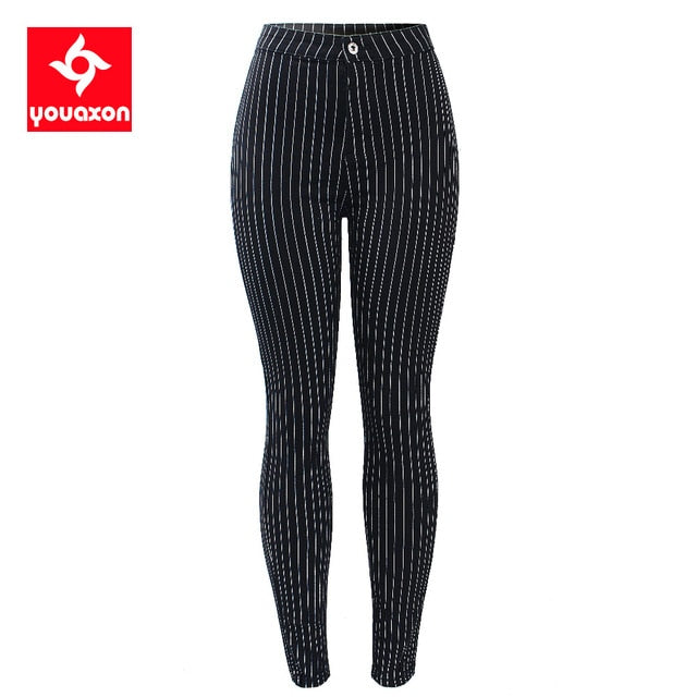 White Stripes High Waist Stretchy Skinny Trousers For Women- Lootdash