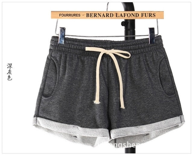 Cotton Women Shorts Summer Plus Size Shorts Lace up Elastic Mid Waist Loose Home Comfy Shorts