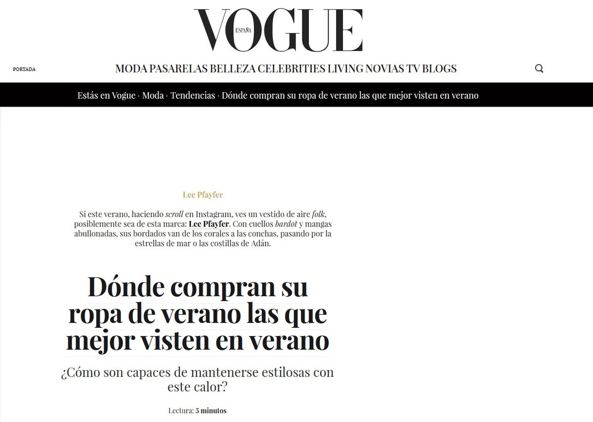 Lee Pfayfer is featured in Vogue Spain