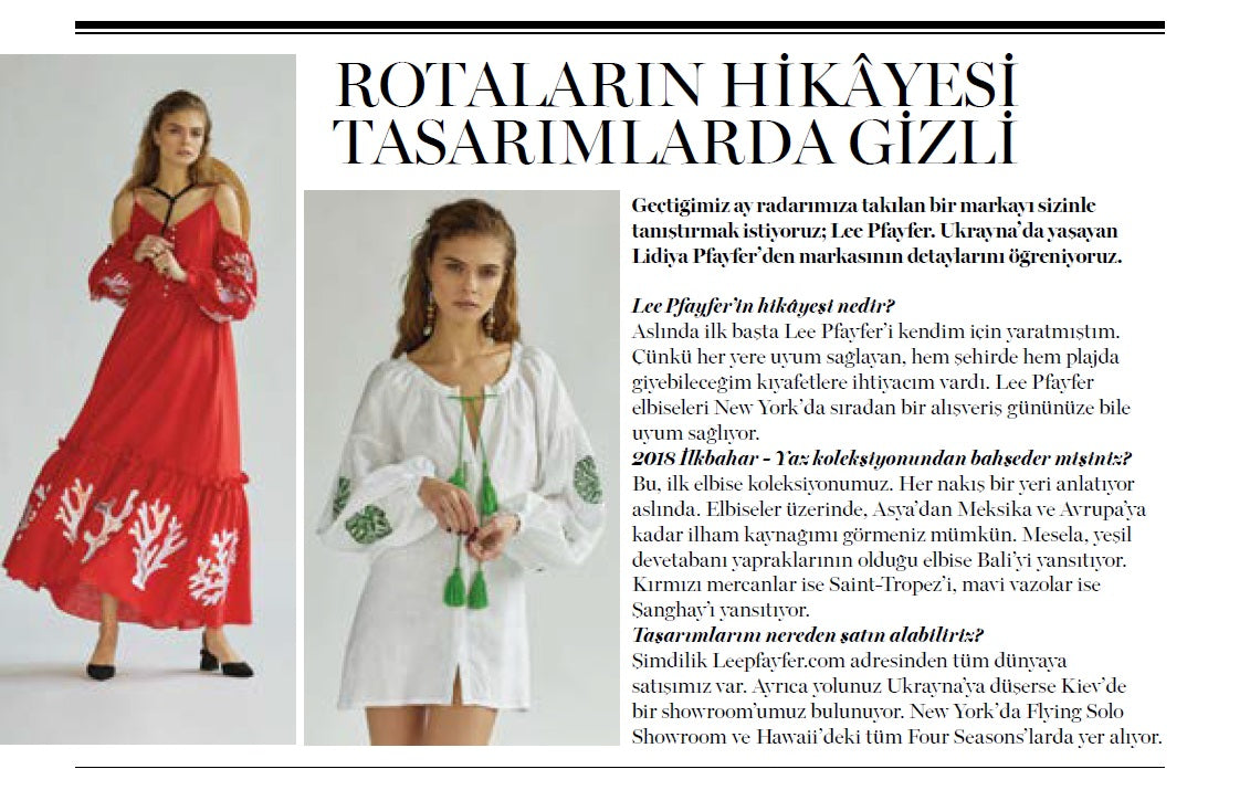 Lee Pfayfer designer's interview in Marie Claire Turkey print edition
