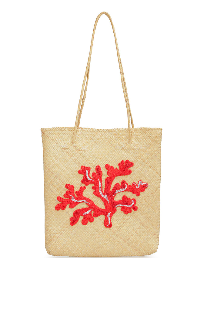 Straws tote with embroidery