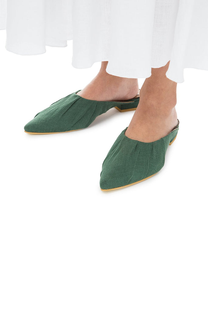 Green Canvas mules