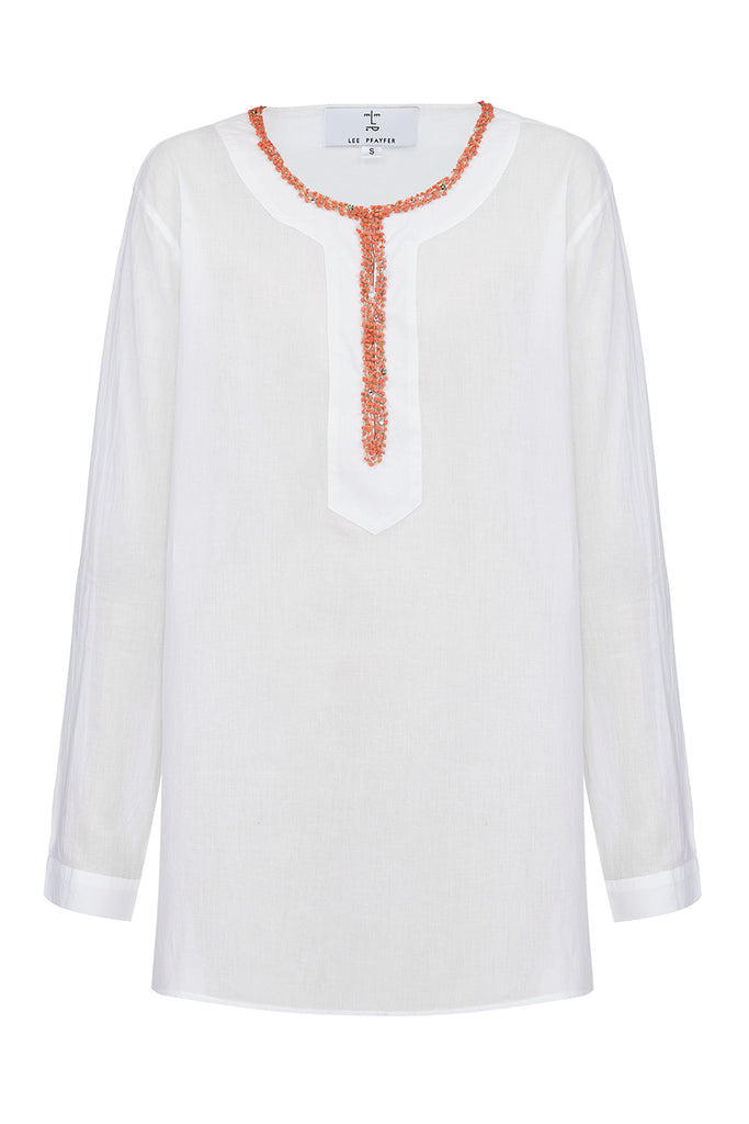 Divine white cotton tunic with long sleeves