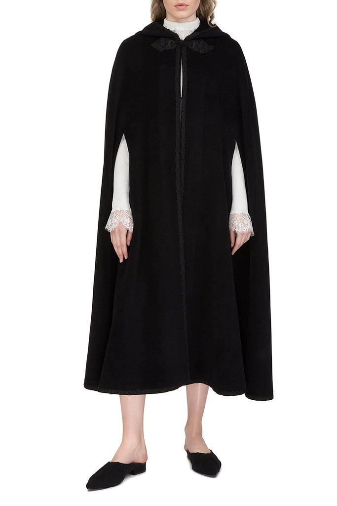 Black hooded wool cape with embroidery