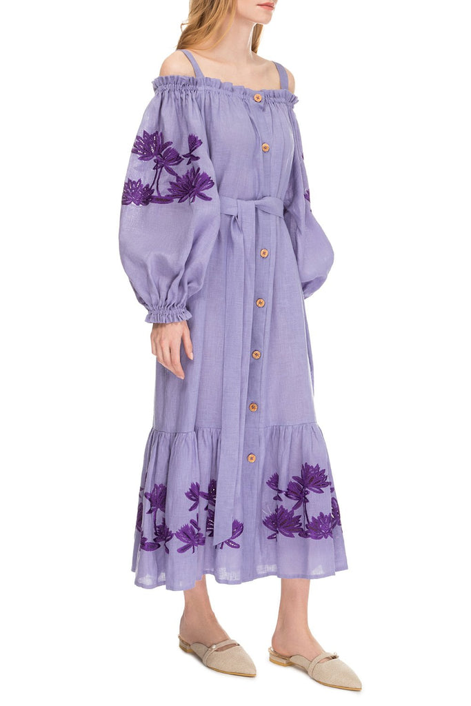 Back to nature Off-the-shoulder Violet dress