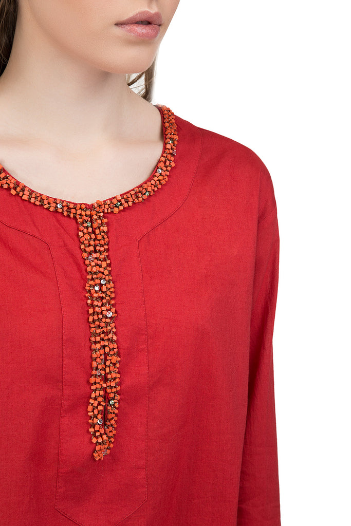 Divine red cotton tunic with long sleeves