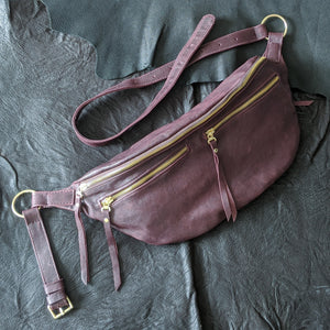 The Everywhere Bag — Distressed Burgundy Leather with Gold Hardware