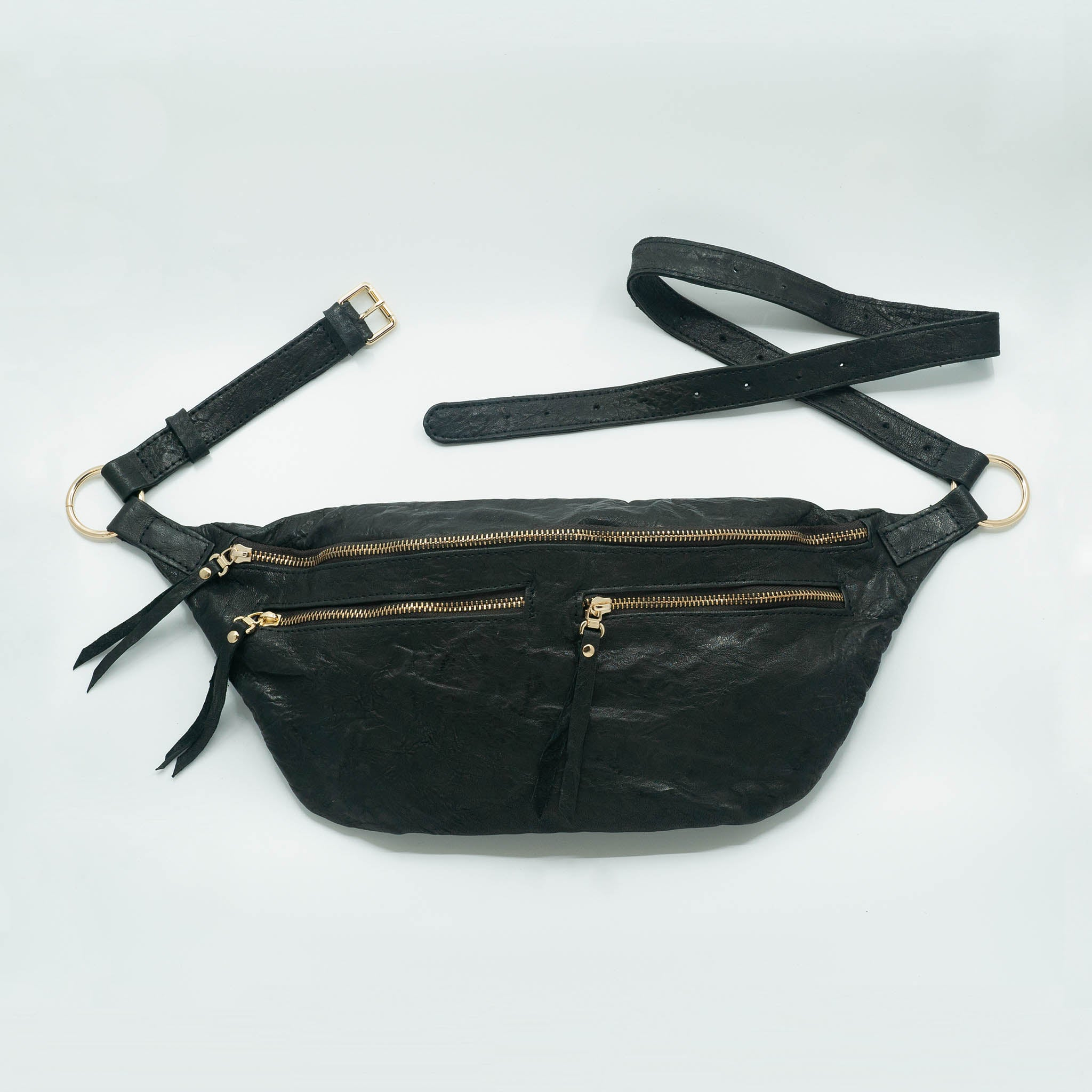 The Everywhere Bag #1 — Glazed, Textured Black Leather with Gold Hardware