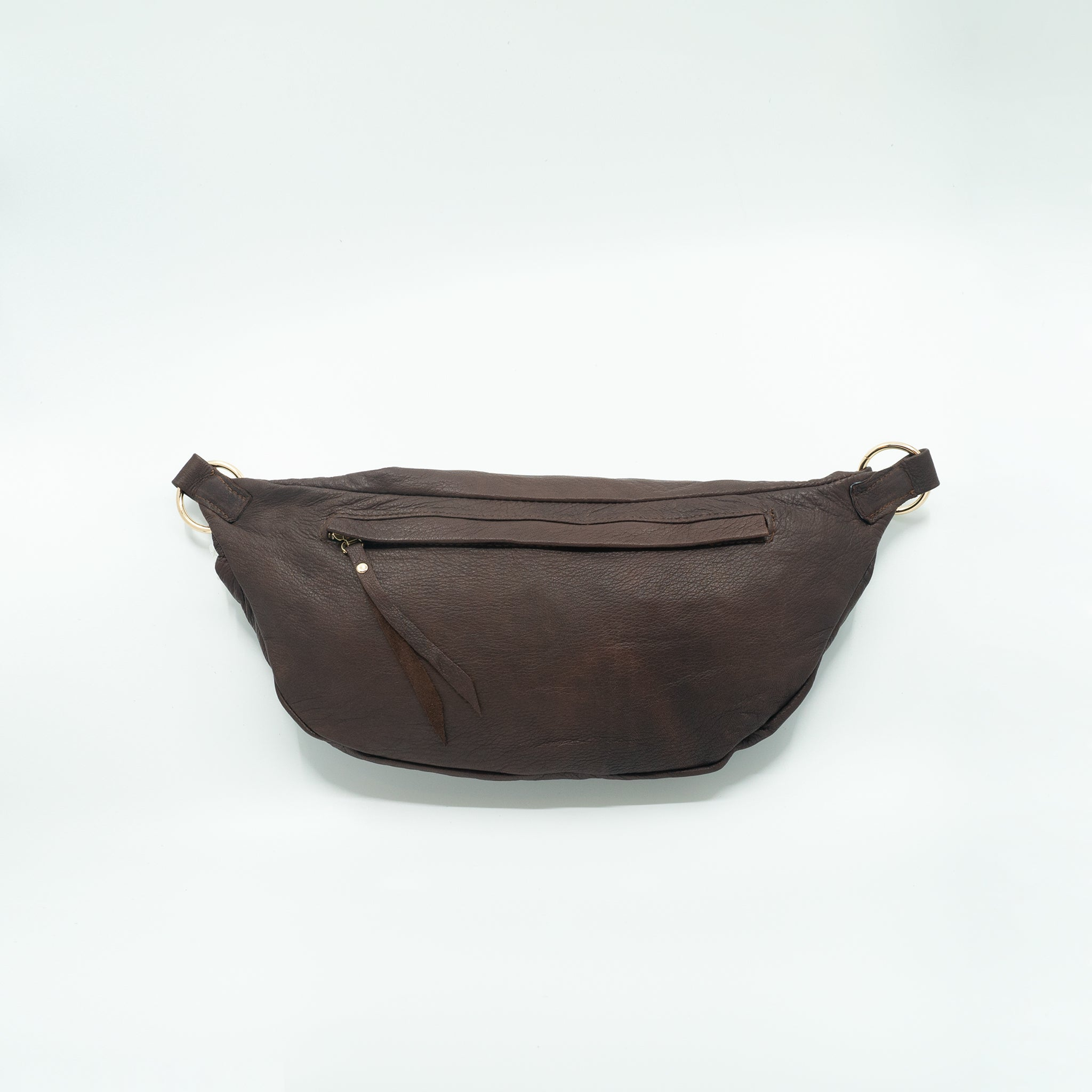 The Everywhere Bag #23 — Distressed Burgundy-Brown Leather with Gold Harware
