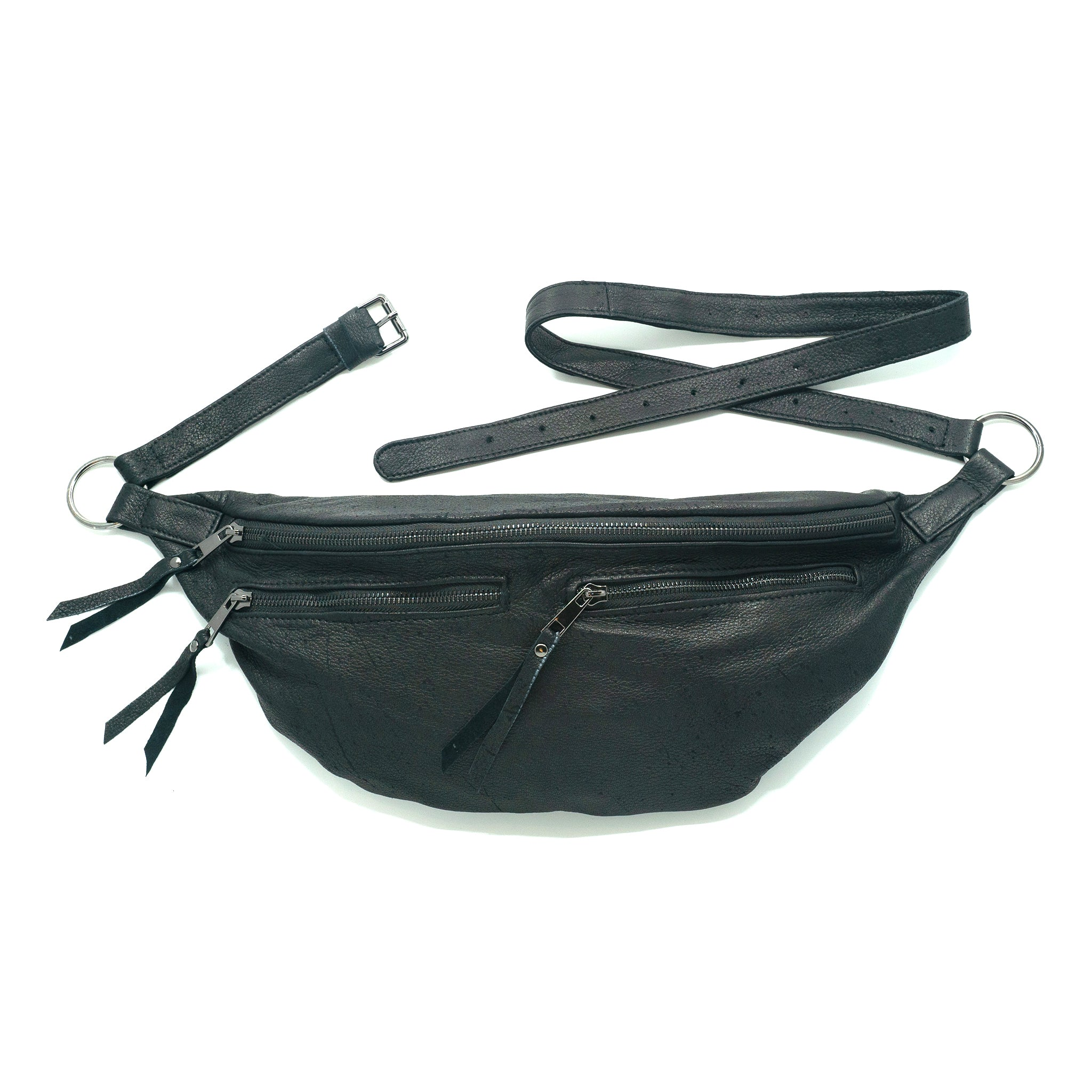 The Everywhere Bag — Pebbled Black Leather with Gunmetal Hardware